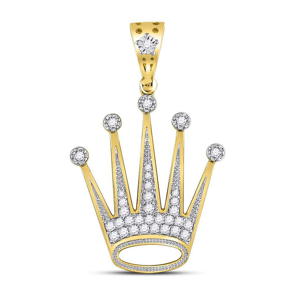 10K Yellow Gold Men's Diamond Crown King Charm Pendant 1/2 Ct