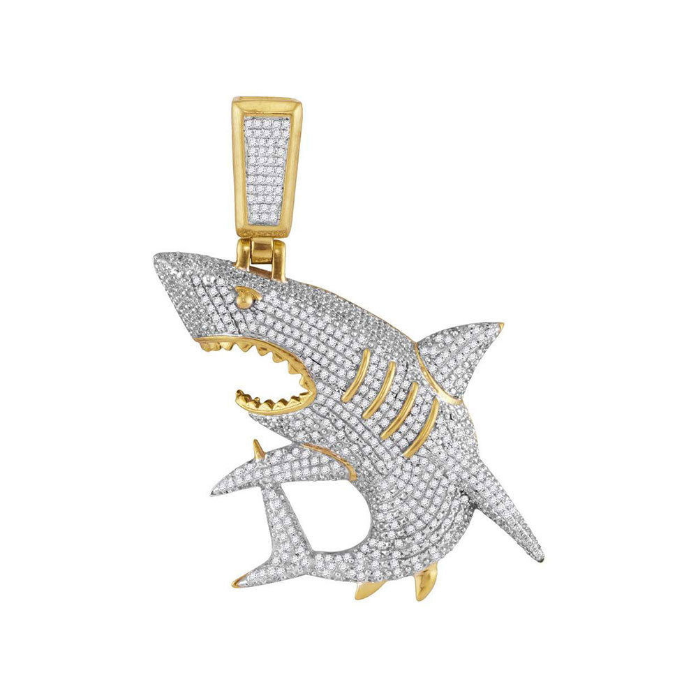 10K Yellow Gold Men's Diamond Shark Nautical Charm Fashion Pendant 1 & 1/2 Ct
