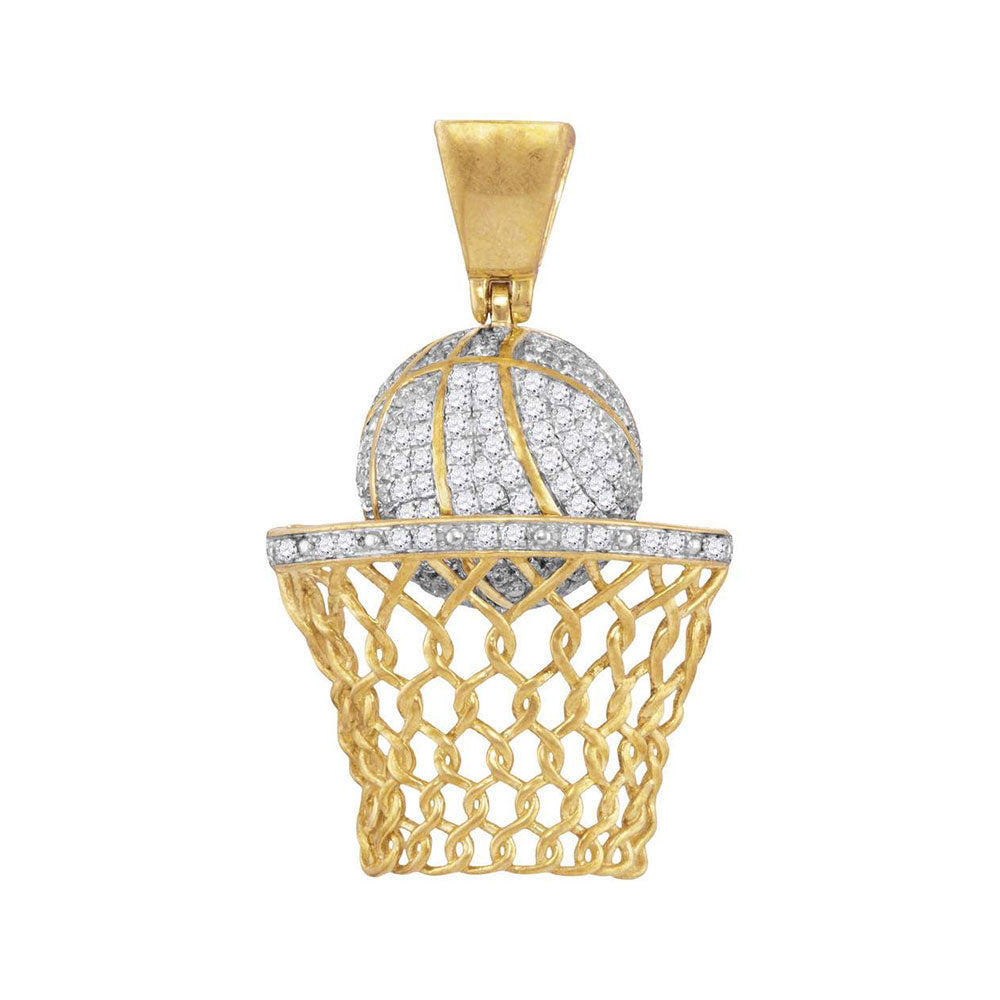 10K Yellow Gold Men's Diamond Basketball Hoop Net Charm Pendant 3/4 Ct