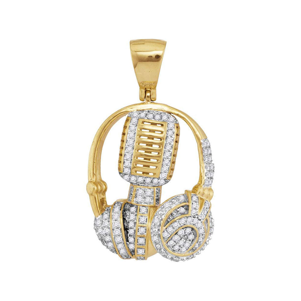 10K Yellow Gold Men's Diamond Mic Headphone DJ Music Charm Pendant 1.00 Ct