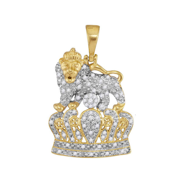10K Yellow Gold Men's Diamond Lion Tiger Crown Charm Pendant 1/3 Ct