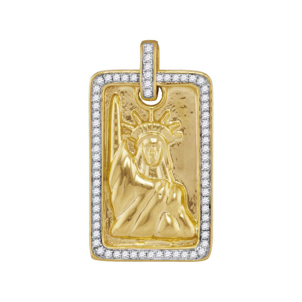 10K Yellow Gold Men's Diamond Rectangle Lady Liberty Statue Dog Tag Charm Pendant 1/3 Ct