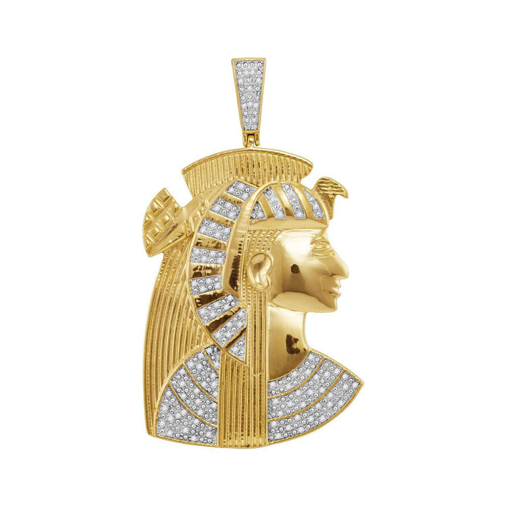 10K Yellow Gold Men's Diamond Pharaoh Charm Pendant 3/8 Ct