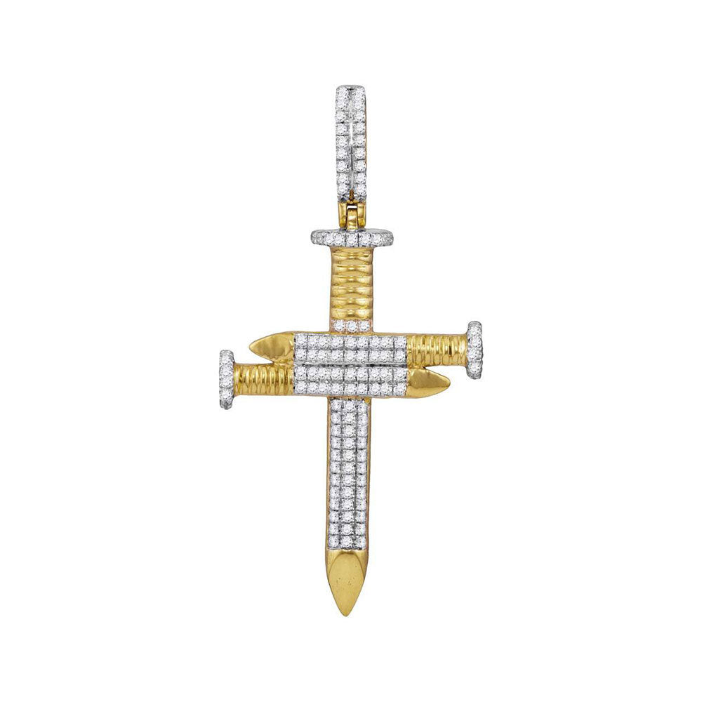 10K Yellow Gold Men's Diamond 3 Nail Cross Charm Pendant 3/4 Ct
