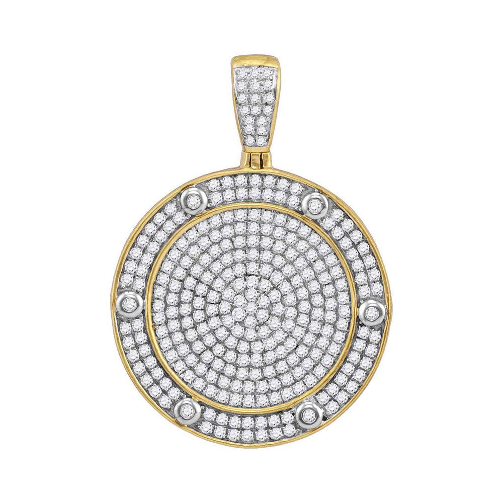 10K Yellow Gold Men's Diamond Circle Medallion Charm Pendant 1-1/2 Ct