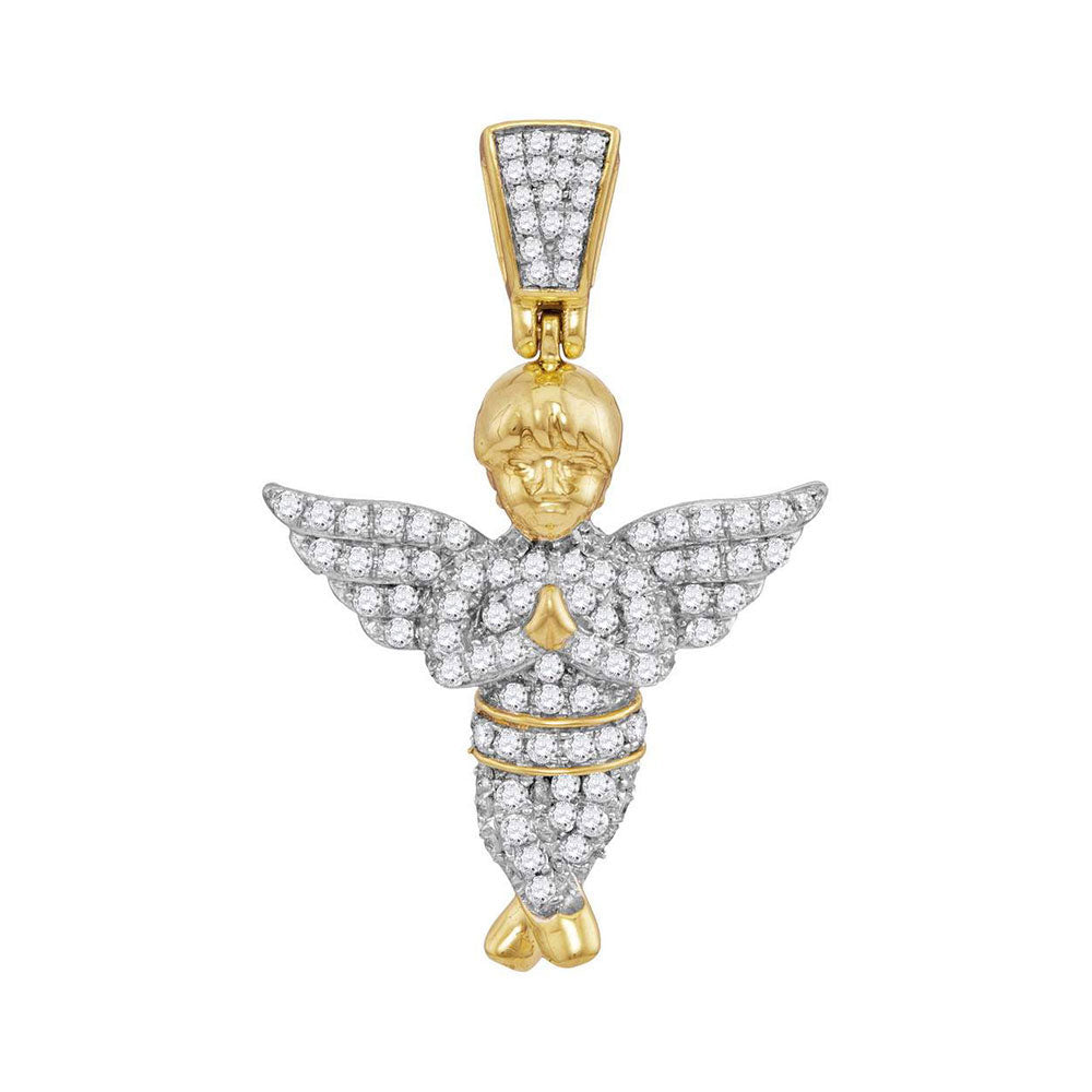 10K Yellow Gold Men's Diamond Guardian Angel Charm Pendant 1/2 Ct