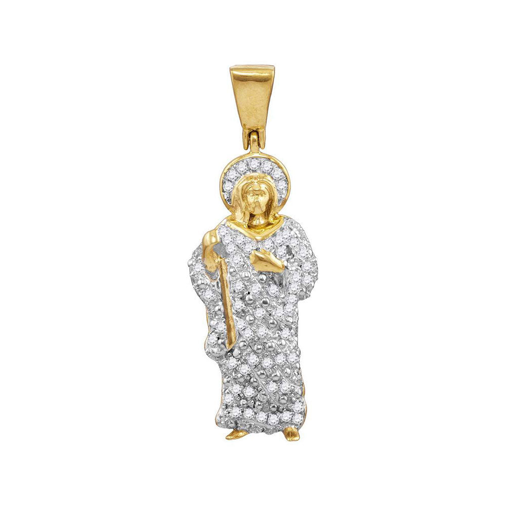 10K Yellow Gold Men's Diamond Jesus Christ Halo Charm Pendant 1/2 Ct