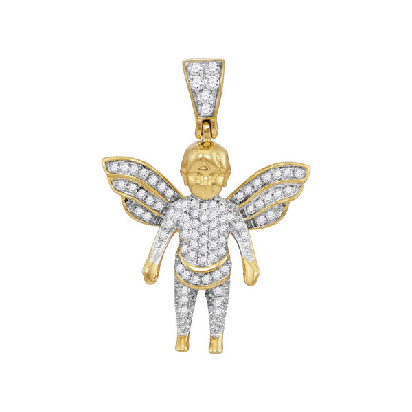 10K Yellow Gold Men's Diamond Guardian Angel Charm Pendant 1/3 Ct