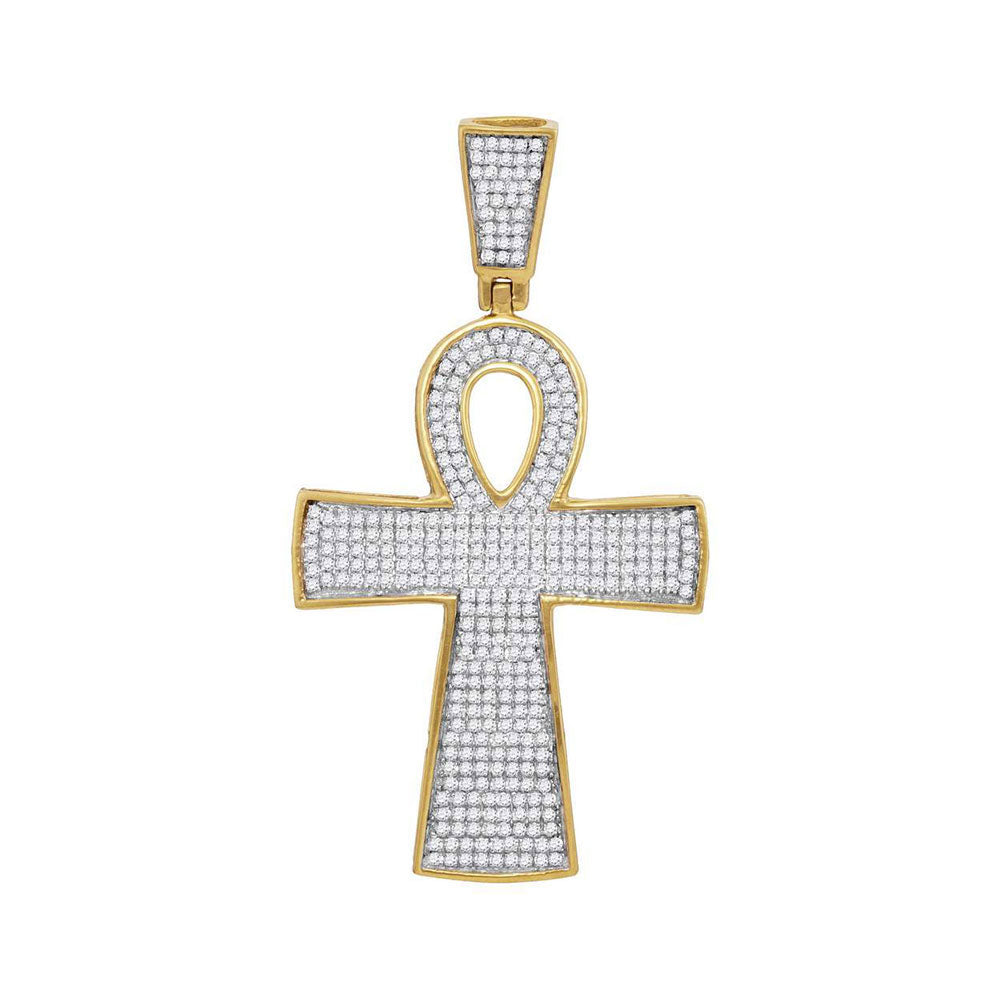 10K Yellow Gold Men's Diamond Ankh Cross Religious Charm Pendant 3/4 Ct