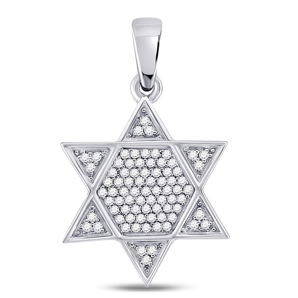 10K White Gold Men's Diamond Star Magen David Jewish Charm Pendant 1/5 Ct