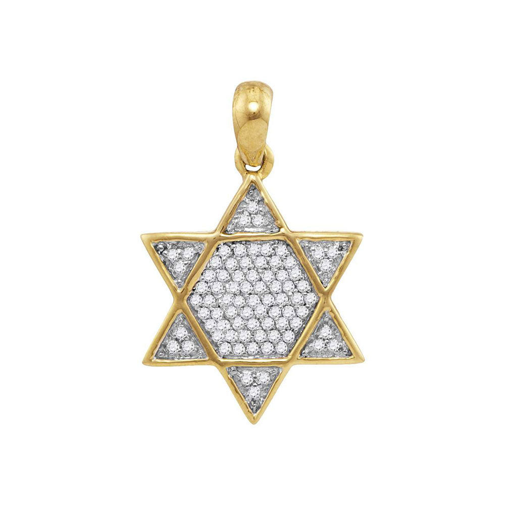 10K Yellow Gold Men's Diamond 6-Point Star Magen David Charm Pendant 1/5 Ct