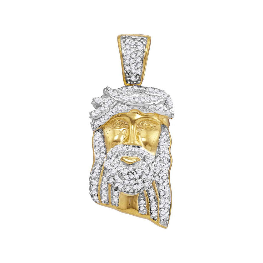 10K Yellow Gold Men's Diamond Jesus Christ Messiah Head Charm Pendant 3/8 Ct
