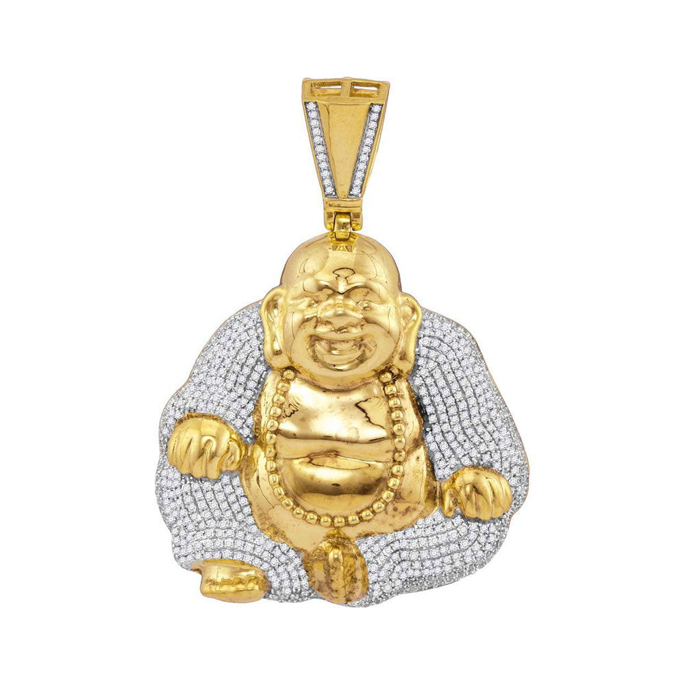 10K Yellow Gold Men's Diamond Laughing Buddha Hotei Charm Pendant 1-3/4 Ct