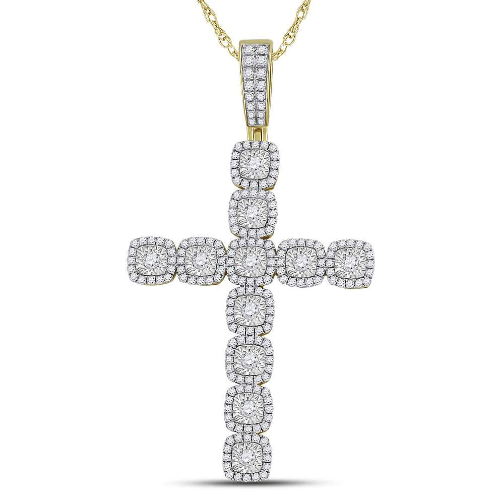 14K Yellow Gold Men's Diamond Roman Cross Charm Pendant 2.00 Ct