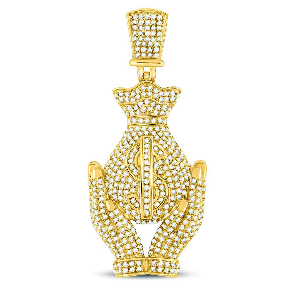10K Yellow Gold Men's Diamond Money Bag Hands Charm Pendant 2.00 Ct