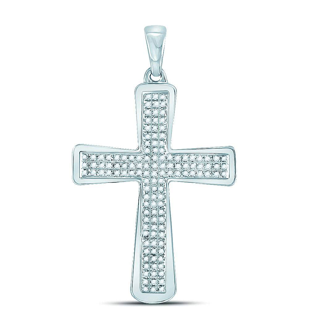 10K White Gold Men's Diamond Roman Cross Charm Pendant 1/3 Ct