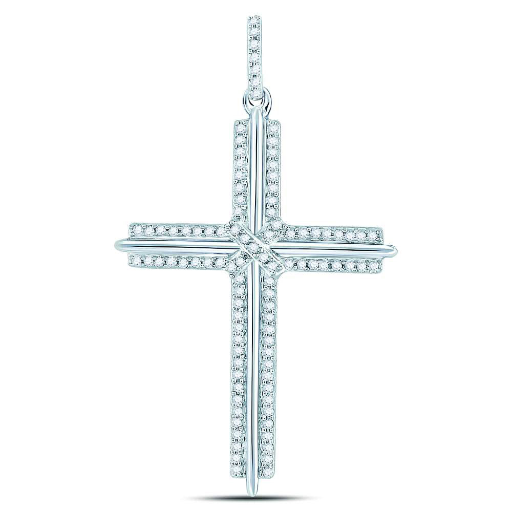 10K White Gold Men's Diamond Roman Cross Charm Pendant 1/4 Ct