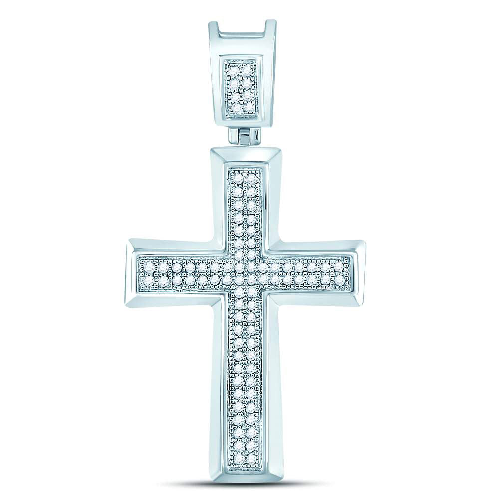 10K White Gold Men's Diamond Roman Cross Charm Pendant 1/6 Ct