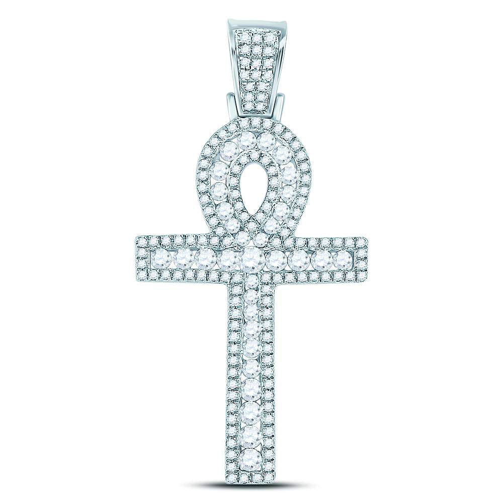 10K White Gold Men's Diamond Ankh Cross Charm Pendant 1.00 Ct