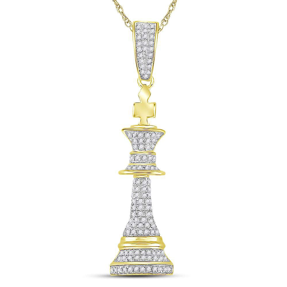 10K Yellow Gold Men's Diamond King Chess Piece Charm Pendant 3/8 Ct