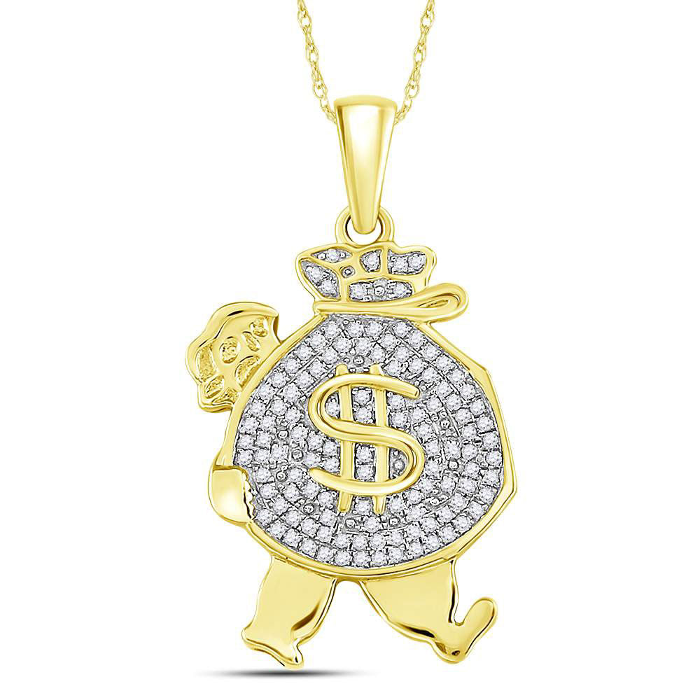 10K Yellow Gold Men's Diamond Money Bag Man Charm Pendant 1/4 Ct