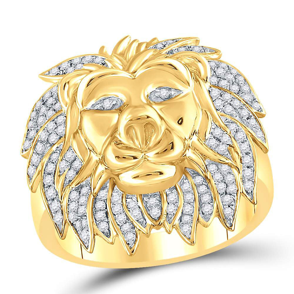 10K Yellow Gold Mens Round Diamond Lion Mane Cluster Ring 5/8 Ct