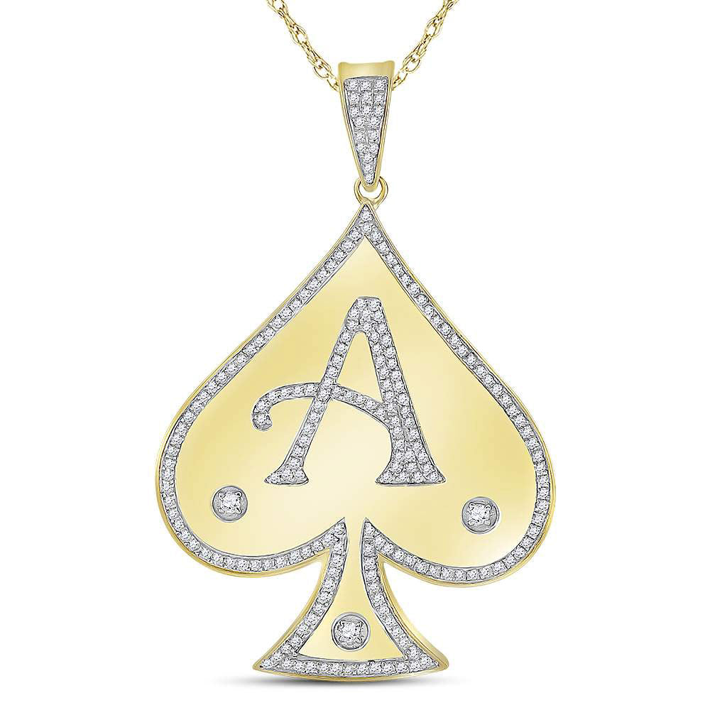 10K Yellow Gold Men's Diamond Spade Aces Charm Pendant 1/2 Ct