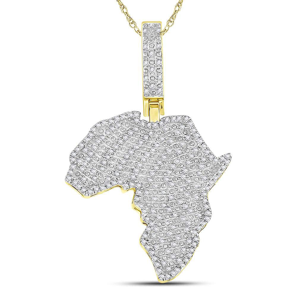 10K Yellow Gold Men's Diamond Africa Continent Charm Pendant 5/8 Ct