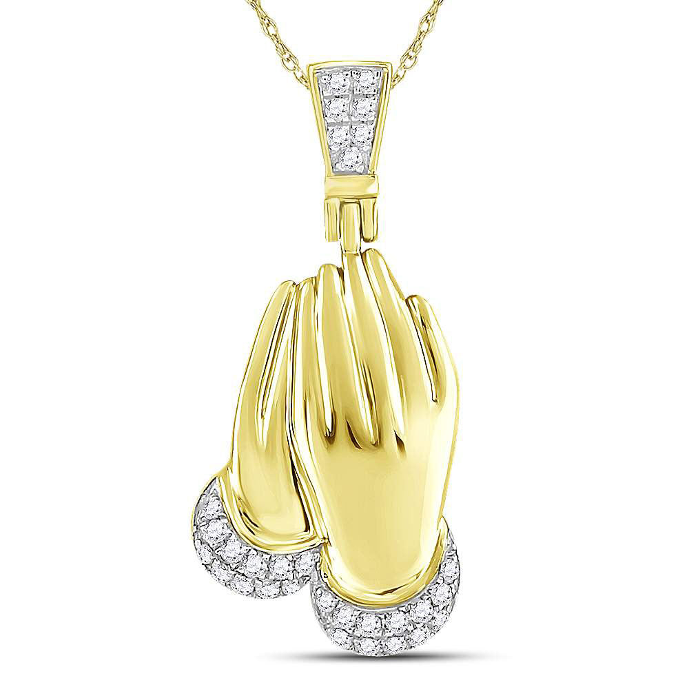 10K Yellow Gold Men's Diamond Praying Hands Charm Pendant 1/6 Ct