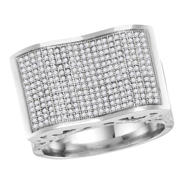 Men's 3/4 Ct Diamond Pave-set Rectangle Concave Cluster Ring in 10K White Gold