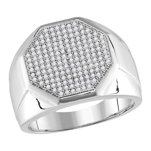 Men's 1/2 Ct Diamond Pave-set Octagon Cluster Ring in 10K White Gold