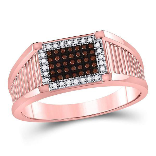 Men's 1/5 Ct Diamond Red Color Rectangle Cluster Ring in 10K Rose Gold