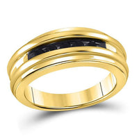 Men's 1/4 Ct Diamond Black Color Band Ring in 10K Yellow Gold