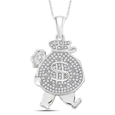 10K White Gold Men's Diamond Money Bag Man Charm Pendant 1/4 Ct