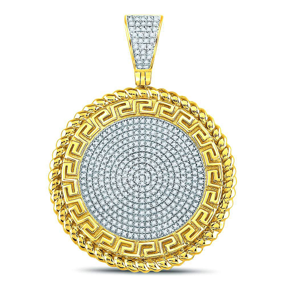 10K Yellow Gold Men's Diamond Greek Key Circle Charm Pendant 5/8 Ct
