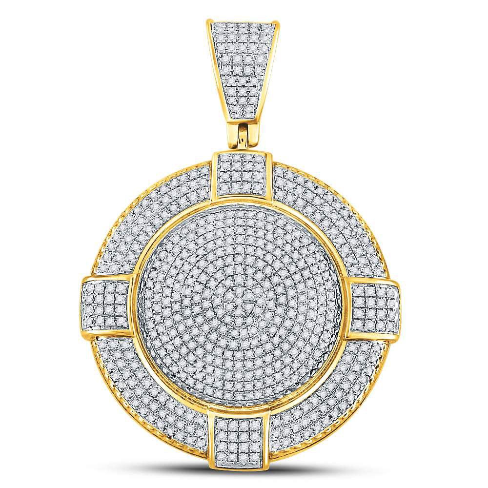 10K Yellow Gold Men's Diamond Circle Frame Medallion Charm Pendant 7/8 Ct