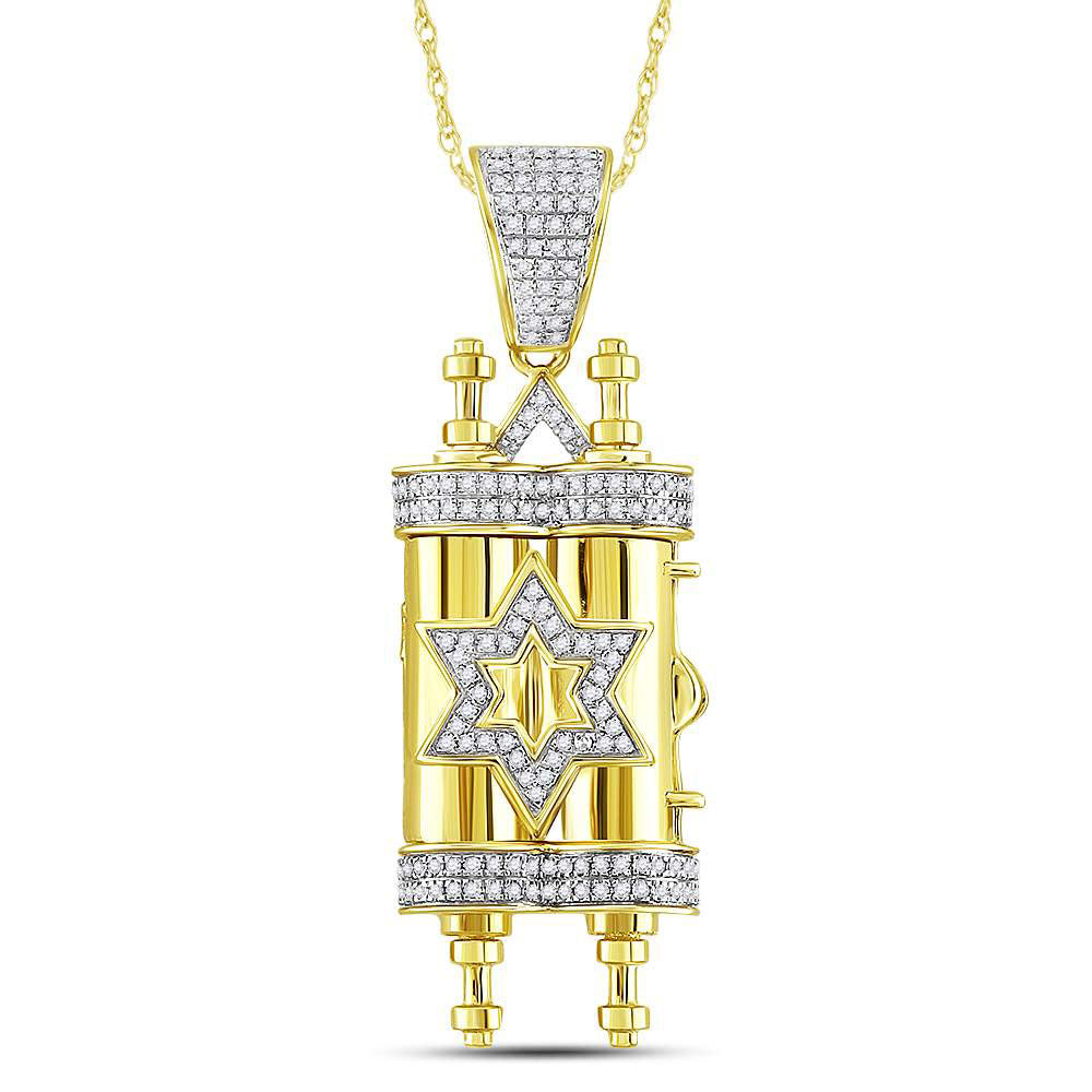10K Yellow Gold Men's Diamond Torah Magen David Scroll Charm Pendant 3/8 Ct
