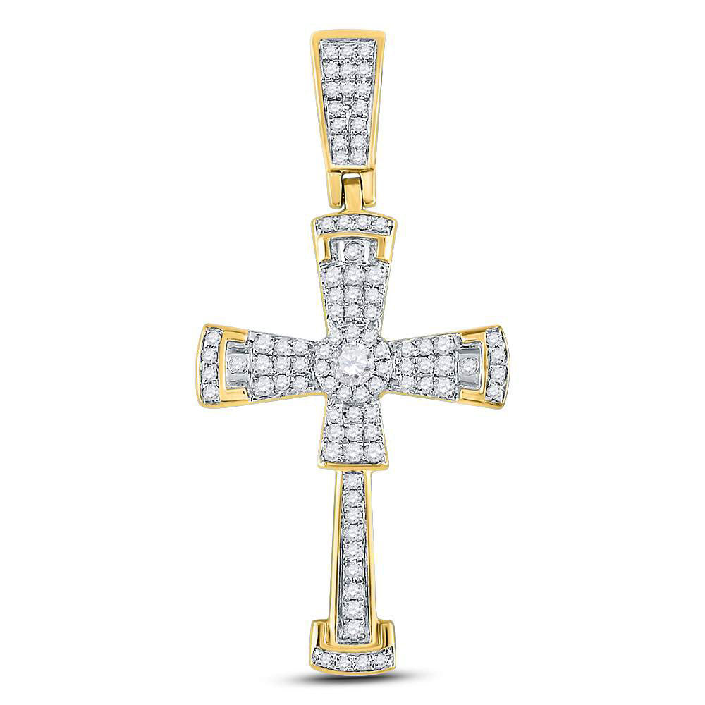 10K Yellow Gold Men's Diamond Flared Cross Crucifix Charm Pendant 1/2 Ct