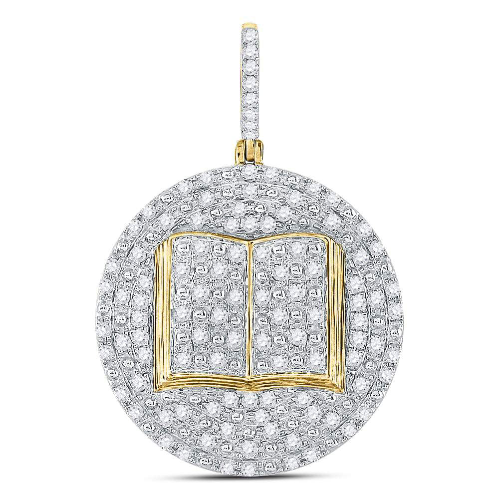 10K Yellow Gold Men's Diamond Holy Bible Open Book Charm Pendant 1.00 Ct