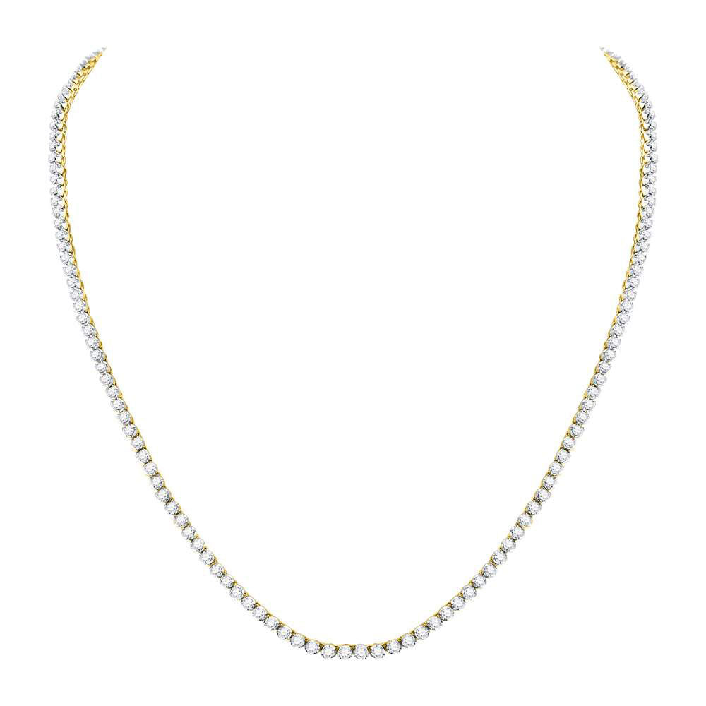 "10K Yellow Gold Men's  Diamond Solitaire Linked 22"" Necklace 10-1/2 Ct"