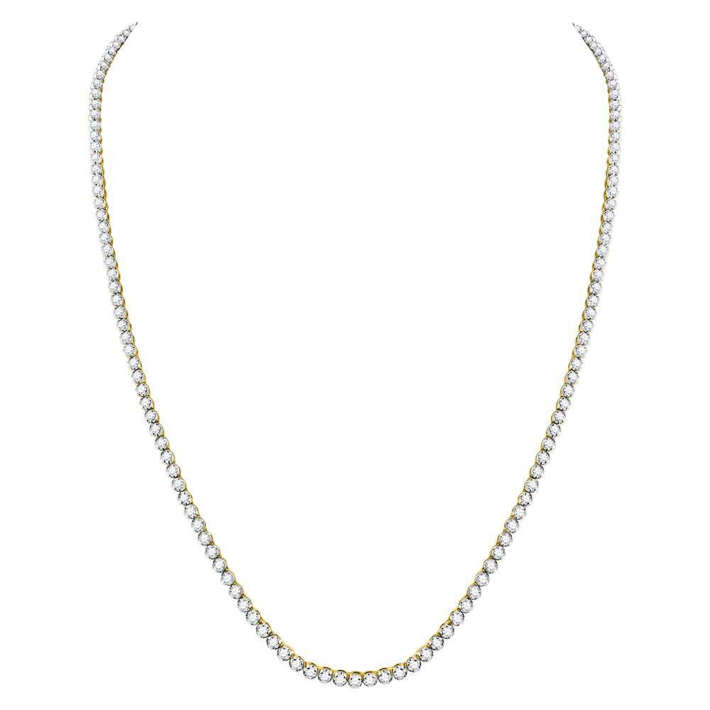 "10K Yellow Gold Men's  Diamond Solitaire Linked 30"" Necklace 13-3/8 Ct"