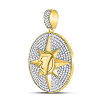 Men's 2-3/8 Ct Diamond Compass Rose Lucky 7 Charm Pendant in 10K Yellow Gold