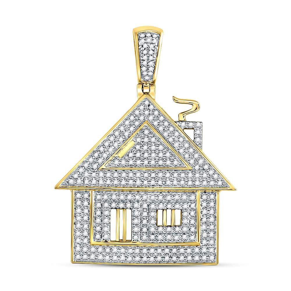 10K Yellow Gold Men's Diamond Trap House Charm Pendant 3/4 Ct