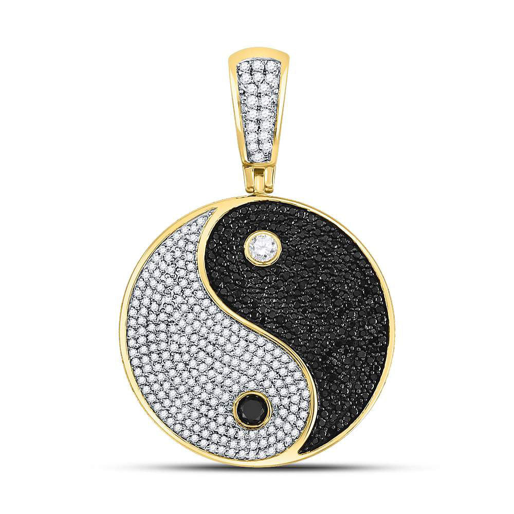 10K Yellow Gold Men's Black Color Enhanced Diamond Yin Yang Charm Pendant 1-3/4 Ct