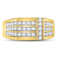 14K Yellow Gold Mens Round Diamond Triple Row Intersecting Fashion Ring 1/2 Ct