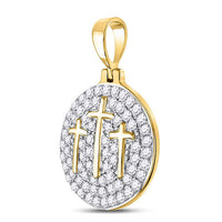Men's 1-1/2 Ct Diamond Trinity Triple Cross Charm Pendant in 10K Yellow Gold
