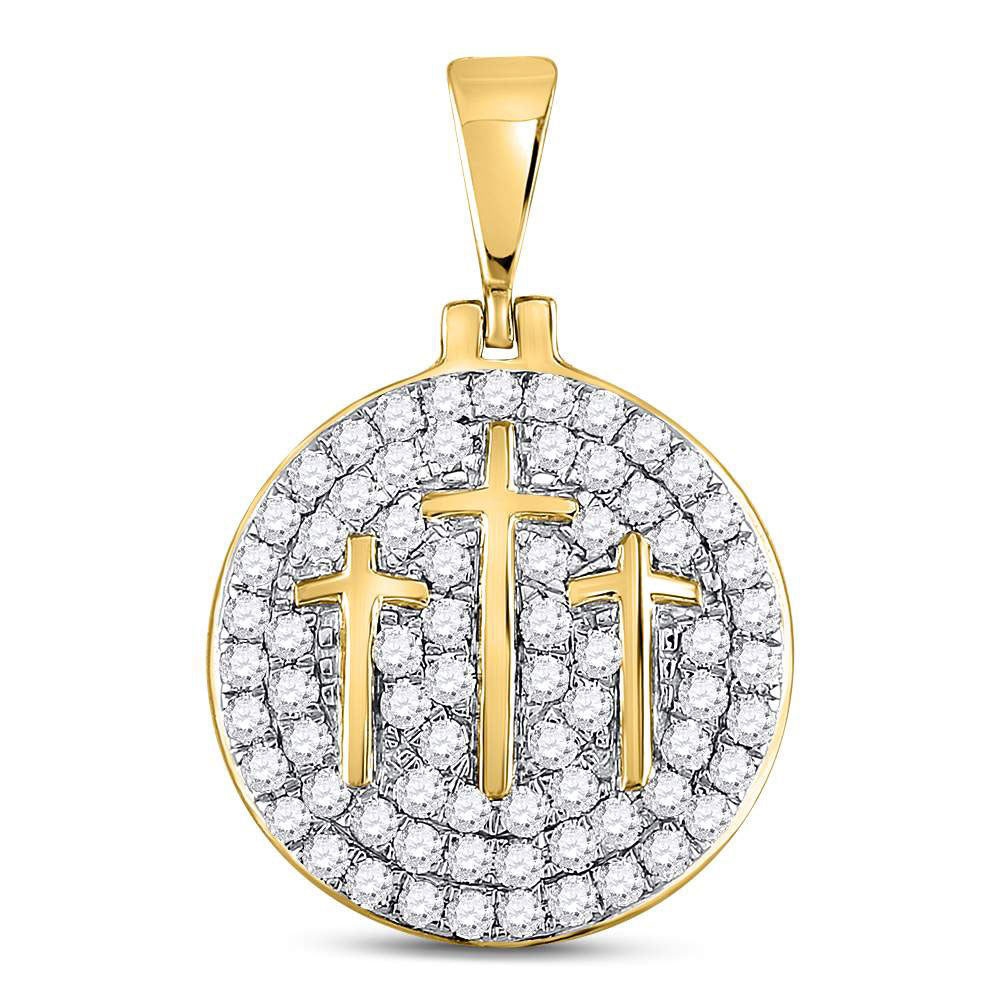 10K Yellow Gold Men's Diamond Trinity Triple Cross Charm Pendant 1-1/2 Ct