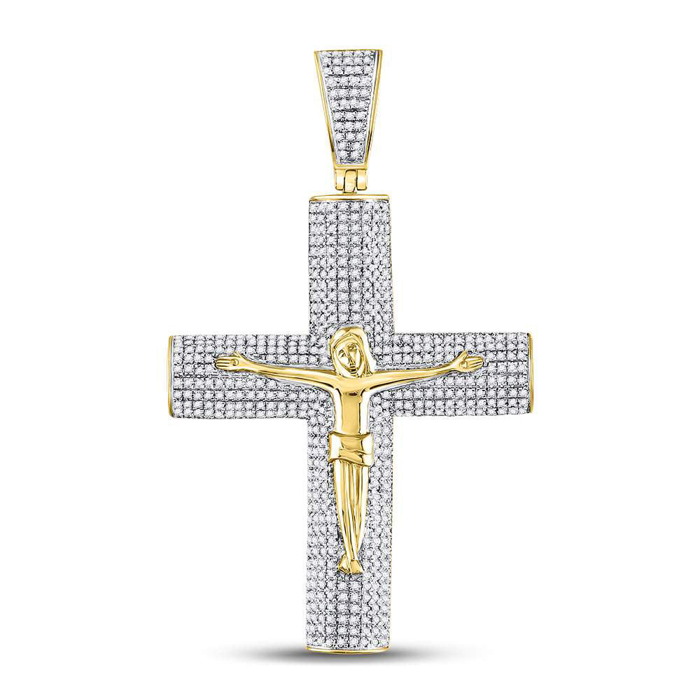 10K Yellow Gold Men's Diamond Roman Cross Crucifix Jesus Charm Pendant 1-1/2 Ct