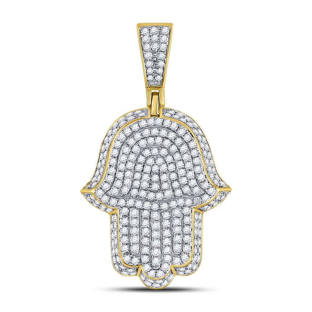 10K Yellow Gold Men's Diamond Hamsa Hand of Fathima Charm Pendant 1-1/4 Ct