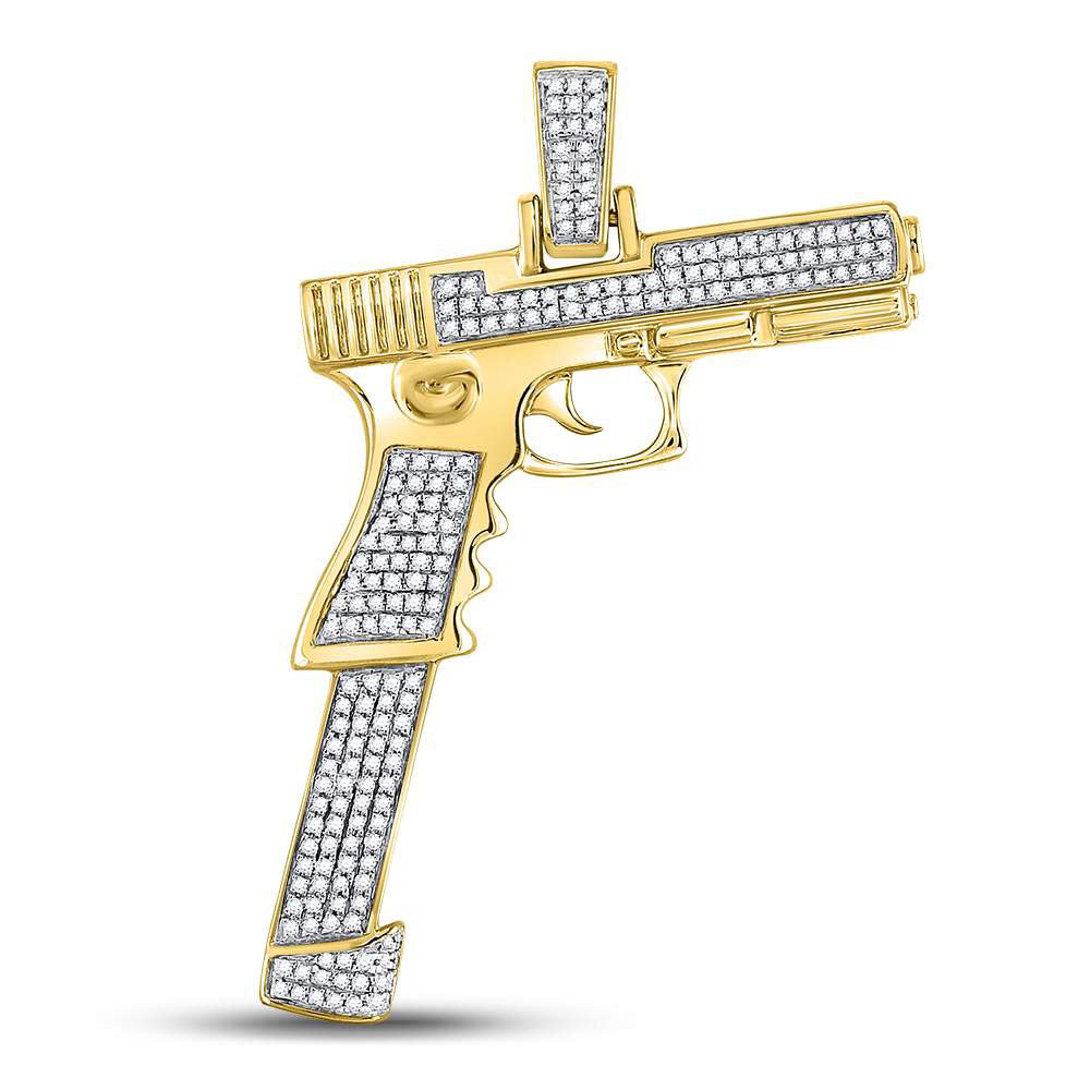 10K Yellow Gold Men's Diamond Handgun Pistol Charm Pendant 5/8 Ct
